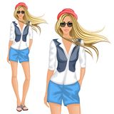 Blond hipster girl. Blond hipster female girl character wearing chemise shorts vest hat sunglasses vector illustration Royalty Free Stock Photography
