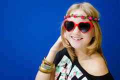 Blond hipster woman in sunglasses Royalty Free Stock Images