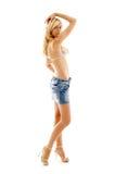 Blond im Denimrock und -bikini Lizenzfreies Stockbild