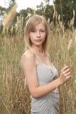 Blond im hohen Gras Stockbilder