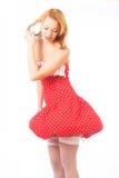 Blond im roten Kleid Lizenzfreies Stockfoto