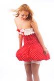 Blond im roten Kleid Lizenzfreie Stockfotos