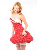Blond im roten Kleid Stockbilder