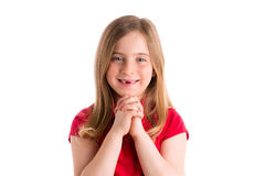 Blond indented girl praying hands gesture in white Royalty Free Stock Images