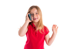 Blond indented girl smiling talking smartphone Stock Photo