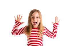Blond indented kid open mounth hands happy Royalty Free Stock Images