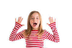 Blond indented kid open mounth hands happy Royalty Free Stock Photos