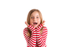 Blond indented kid open mounth hands happy Stock Images