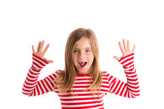 Blond indented kid open mounth hands happy Stock Photos