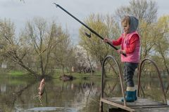 Blond kid girl fishing tuna little tunny happy with trolling catch on boat deck stock image