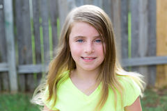 Blond kid girl happy portrait outdoor royalty free stock image