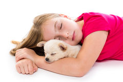 Blond kid girl with puppy chihuahua dog sleeping Royalty Free Stock Image