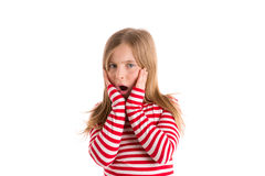 Blond kid girl sad surprised gesture expression Royalty Free Stock Photography