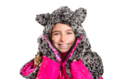 Blond kid girl with winter gray feline fur scarf hat in white Stock Images