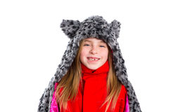 Blond kid girl with winter gray feline fur scarf hat in white Royalty Free Stock Photos
