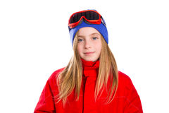 Blond kid girl winter portrait with ski snow goggles Royalty Free Stock Image