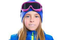 Blond kid girl winter portrait with ski snow goggles Royalty Free Stock Photos