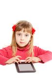 Blond kid little girl with ebook tablet. Pc portrait isolated on white stock photo