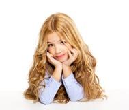Blond kid little girl portrait smiling Stock Photos