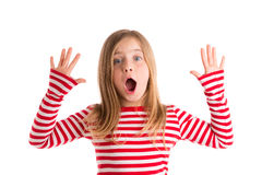 Blond kid open mounth and hands happy Stock Images