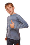 Blond kid toddler boy in a striped sweater, Royalty Free Stock Photography