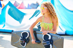 Blond kite surf teen girl in summer beach Royalty Free Stock Images