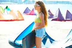 Blond kite surf teen girl in summer beach Royalty Free Stock Image