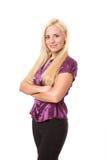 blond klädd mogen kvinna för natt ut Arkivfoto