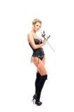 Blond kobieta w erotyka odzieżowym mieniu róża Obraz Royalty Free