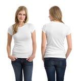 Blond kobieta z pustą białą koszula Zdjęcia Stock