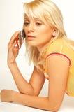 blond komórek telefon dziewczyny fotografia stock