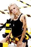blond konstruktionskvinnligarbetare Royaltyfria Foton