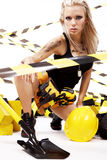 blond konstruktionskvinnligarbetare Royaltyfri Fotografi