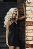 Blond kvinna för mode över tegelstenväggen Arkivfoto