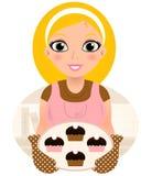 Blond kvinna för Retro matlagning stock illustrationer