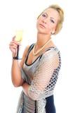 Blond kvinna i partiklänning Royaltyfri Bild
