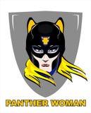 Blond kvinnlig superhero med pantermaskeringen vektor illustrationer