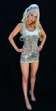Blond Lady. A blond lady in dress with a black background taken in a home studio stock photos