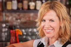 Blond Lady with Drink Stock Photo