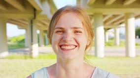 Blond Lady. Emotion. Smile. Blond lady. Emotion Smile Closeup shot stock video