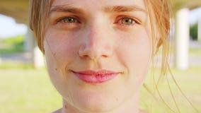 Blond Lady. Emotion. Smile. Blond lady. Emotion Smile Closeup shot stock video footage
