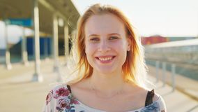 Blond Lady. Emotion. Smile. Blond lady. Emotion Smile Closeup shot stock footage