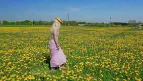 Blond lady is showing us beautiful yellow meadow. stock video