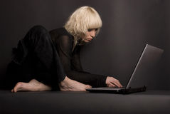 Blond & Laptop Stock Images