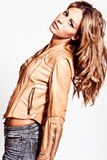 Blond in leather jacket Stock Photo