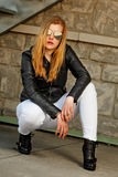 Blond with leather jacket Royalty Free Stock Image