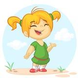 Blond liten flicka i grönt framlägga för klänning Tecknad film för ferievektorillustration stock illustrationer