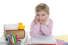 Blond little student girl smiling Royalty Free Stock Photography