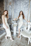 Blond lockig frisyrflicka för nätt tvilling- syster två i lyxig husinre tillsammans, rikt ungdomarbegrepp royaltyfri bild