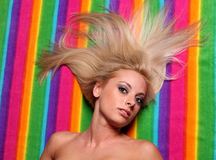 Blond Long Hair on Color Strips Royalty Free Stock Image